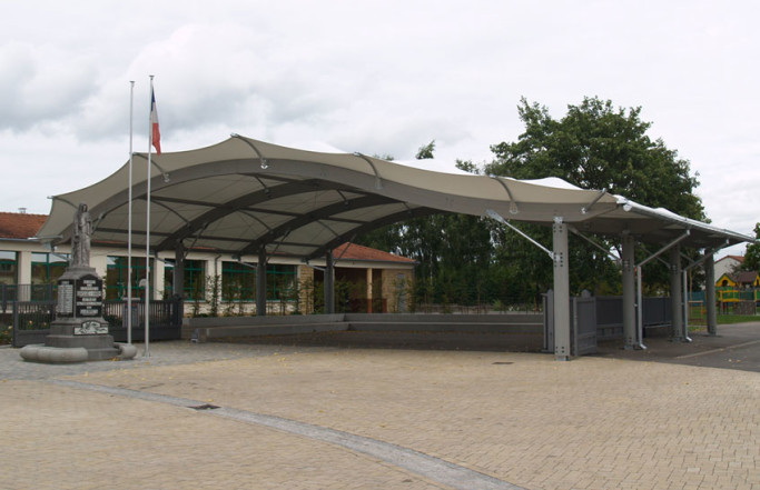 Préau en membrane textile – Ecole de Basse-Ham (57)